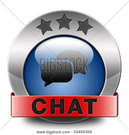 live chat icon. Chatting online button with text