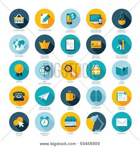 Set of flat design icons for E-commerce, Pay per click marketing, Responsive web design, SEO, Reputa