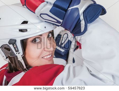Beautiful ice hockey female player fashion portrait