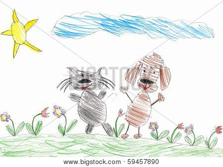 cat and dog friends. child drawing