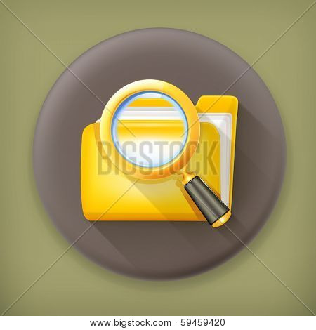 Search folder, long shadow vector icon