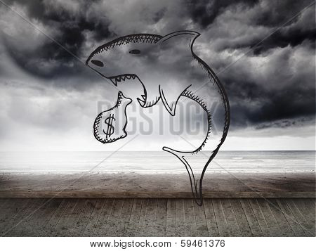 Loan shark doodle against stormy sky on wall