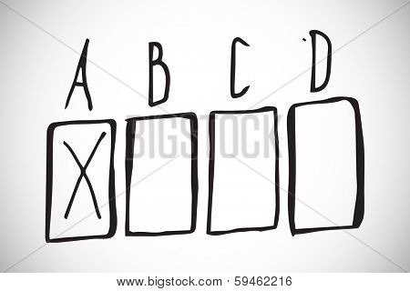 Multiple choice doodle against white background with vignette