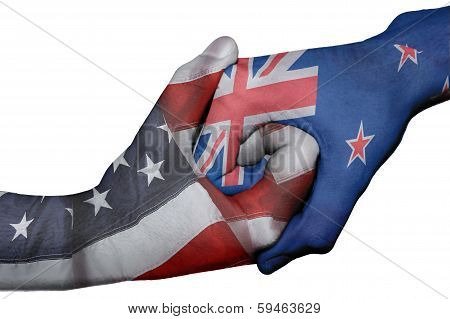 Handshake Between United States And New Zeland
