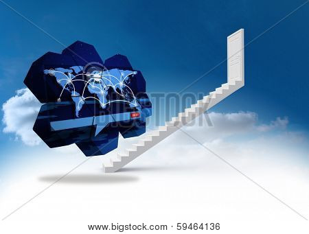 Global connections on abstract screen against steps leading to closed door in the sky