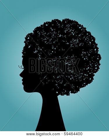 Silhouette of black woman with afro hairstyle (2 pieces hair and woman)