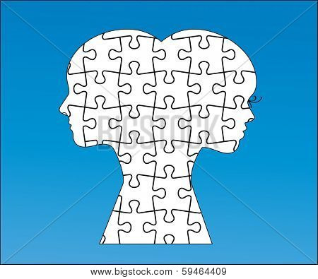 Interlocked puzzle pieces male and female (all separate pieces)