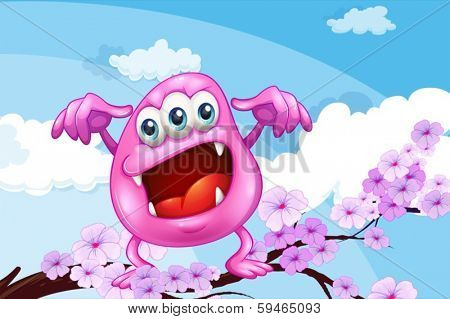 Illustration of a pink beanie monster above the branch of a tree