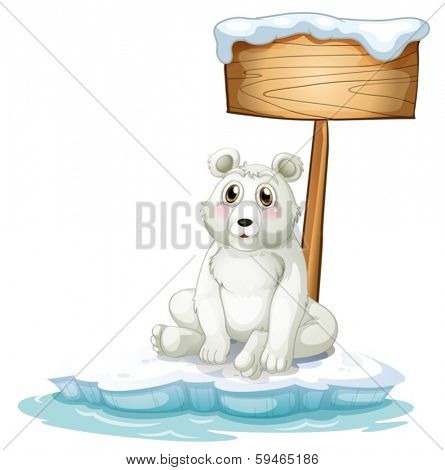 Illustration of a sad bear above the iceberg with an empty signboard on a white background