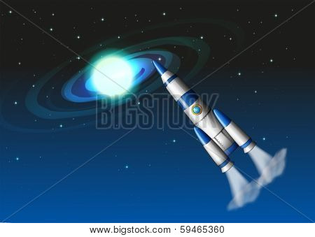 Illustration of a rocket in the sky