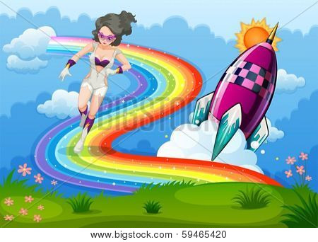 Illustration of a superhero above the rainbow and a rocket