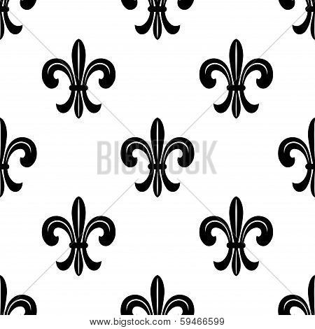 Stylized French fleur de lys seamless pattern