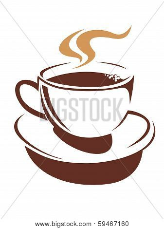 Hot cup of steaming coffee or tea