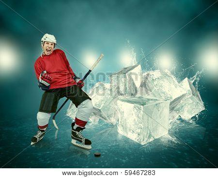 Ice hockey player celebrates the goal scored