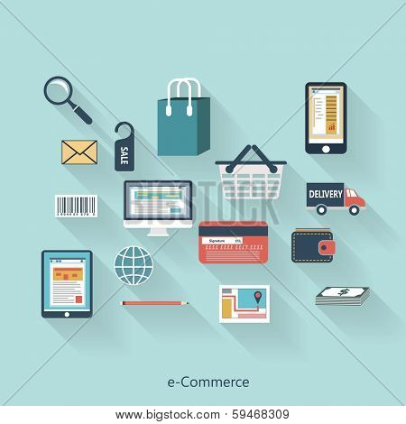 E-Commerce modern concept in flat design with long shadows and trendy colors for web, mobile applications, layouts, brochure covers etc. Vector eps10 illustration