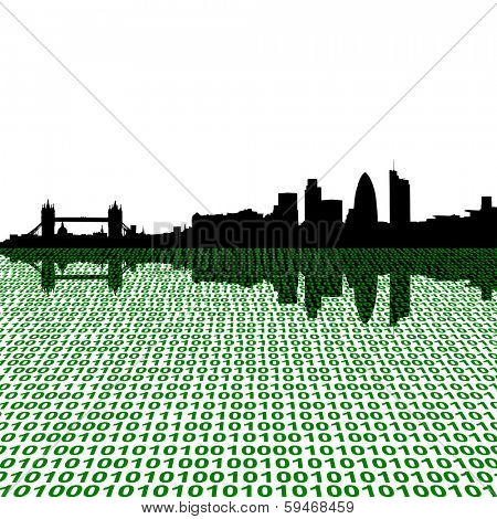 London skyline with binary perspective foreground vector illustration
