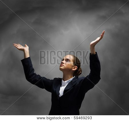 Young crying businesswoman with halo above head