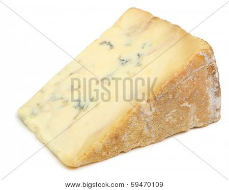 Mature stilton cheese with rind facing.