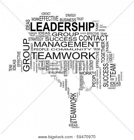 Concept or conceptual black text word cloud or tagcloud isolated on white background, metaphor for business, team, teamwork, management, effective, success, communication, company, group or symbol