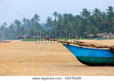 prow of ship on the beach. Photo with slallow DOF