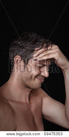 stressfull life hurting male head