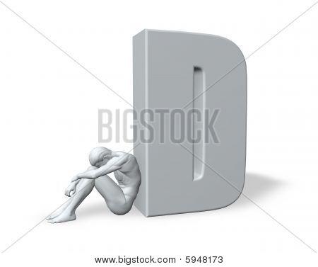 Sitting Man Leans On Uppercase Letter D