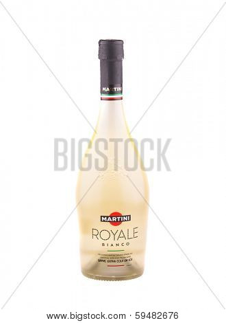 KRAKOW, POLAND - FEB 6, 2014: Studio shot 750ml bottle of Martini Royale Bianco, isolated on white background. Italian Brand of Martini & Rossi founded 1863 in Turin.