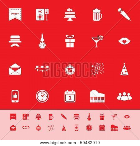 Celebration Color Icons On Red Background