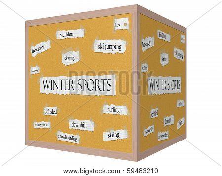 Winter Sports 3D Cube Corkboard Word Concept