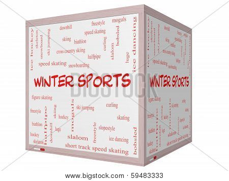 Winter Sports Word Cloud Concept On A 3D Cube Whiteboard
