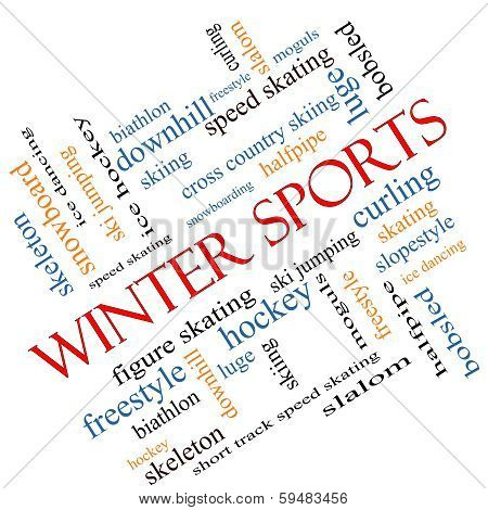 Winter Sports Word Cloud Concept Angled