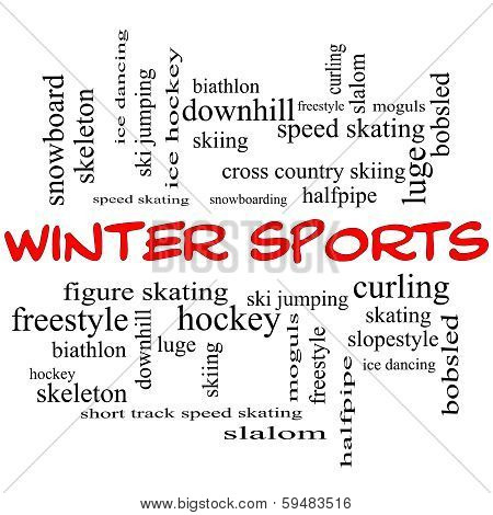 Winter Sports Word Cloud Concept In Red Caps