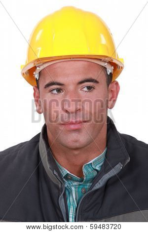 Annoyed construction worker
