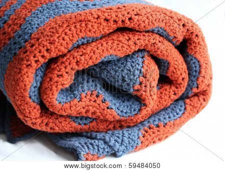 Grey And Terracotta Crocheted Blanket