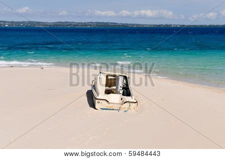 Stranded Boat On Prison Island, Zanzibar, Tanzania