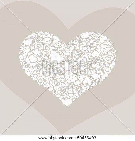 Valentites Heart Of Objects White On Biege