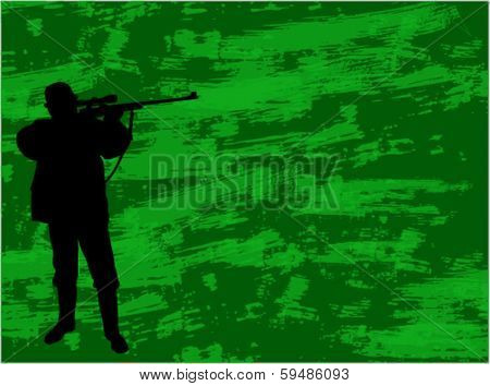 hunter silhouette on the camouflage background