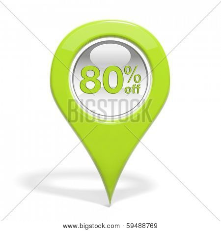 Sales round pin with 80% off isolated on white