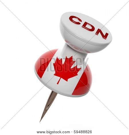 3D pushpin with flag of Canada isolated on white