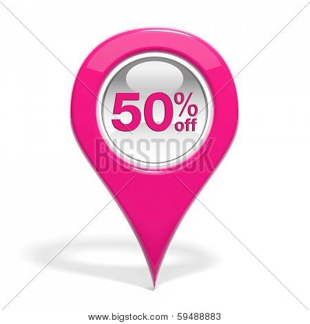 Sales round pin with 50% off isolated on white