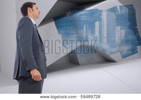 Stern businessman standing against abstract screen in room showing technology interface