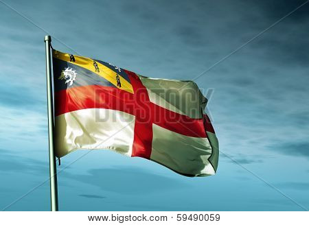 Herm flag waving on the wind
