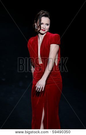NEW YORK-FEB 6: Sasha Cohen wears Marc Bouwer on the runway at The Heart Truth Red Dress Collection show during Mercedes-Benz Fashion Week at Lincoln Center on February 6, 2014 in New York City.