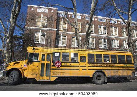 School bus in the front of public school in Brooklyn