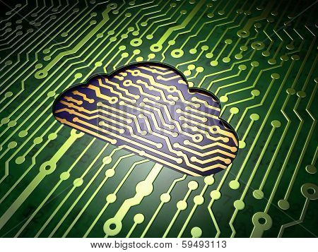 Cloud networking concept: Cloud on circuit board background