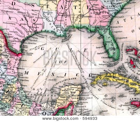 Antique Map Of Gulf Of Mexico