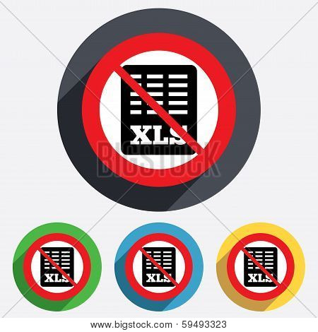 Excel file document icon. No Download xls button.