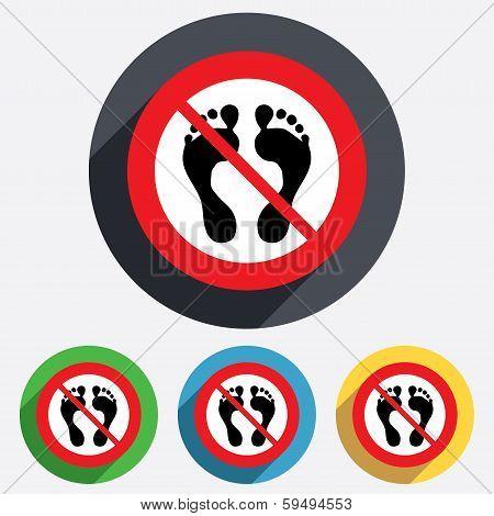 Human footprint sign icon. No Barefoot symbol.