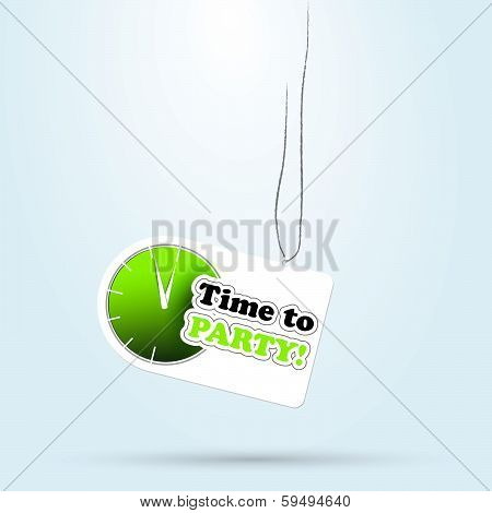 Vector stick label with clock time to party. icon