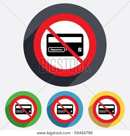 No Credit card sign icon. Debit card symbol.
